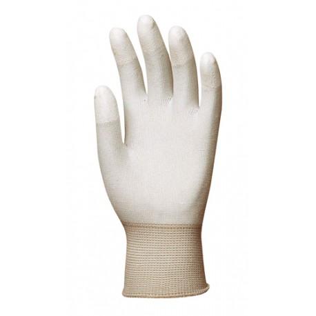 Gants tricotés polyester, bouts des doigts enduits PU blanc 6160 de EUROTECHNIQUE