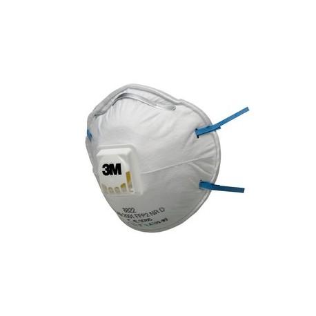 Masque antipoussière FFP2 NR D coque avec soupape 8822 de 3M
