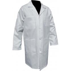 BLOUSE HOMME DROITE A PRESSIONS 100% COTON BLANC 210 GR/M² SANFOR