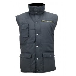 GILET FROID MULTIPOCHES SANS MANCHES EN POLYESTER NOIR DOUBLURE OUATE