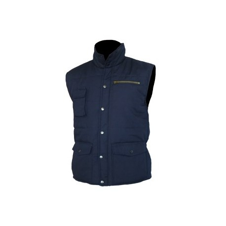 GILET FROID MULTIPOCHES SANS MANCHES EN POLYESTER BLEU MARINE DOUBLURE OUATE