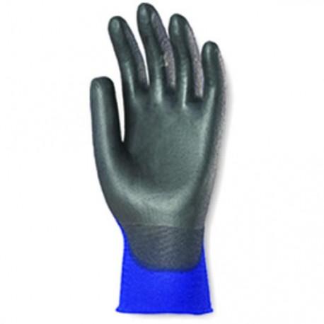 gants très fins tricotés en nylon bleu, enduits mousse PU noir 6420 de EUROTECHNIQUE