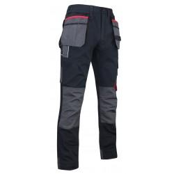 Pantalon de travail LMA LEBEURRE MINERAI 1378 en tissu Canvas noir avec poches outils et genouillères
